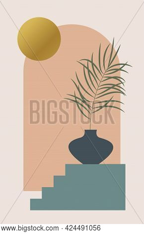 Contemporary Aesthetic Background With Arch, Landscape, Palm Leaf In Vase, Golden Moon. Tropical Flo
