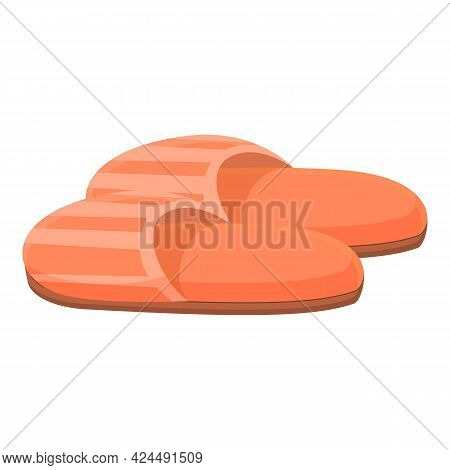 Orange Slippers Icon. Cartoon Of Orange Slippers Vector Icon For Web Design Isolated On White Backgr