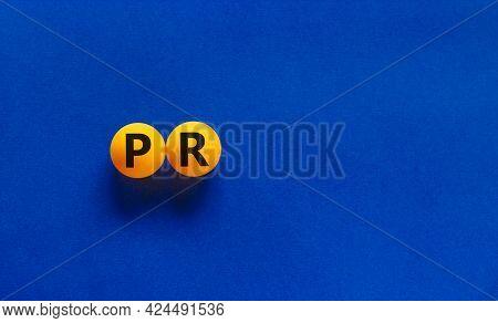 Pr, Public Relations Symbol. Orange Table Tennis Balls With Words 'pr, Public Relations' On Beautifu