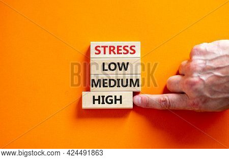 Low Or High Stress Level Symbol. Businessman Chooses The Wooden Block With Words High Stress. Words
