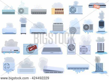Repair Air Conditioner Icons Set. Cartoon Set Of Repair Air Conditioner Vector Icons For Web Design