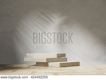 3d Background, Stone Podium Display, Palm Leaf Shadow With Wood. Luxury Cosmetic, Beauty Product Pro