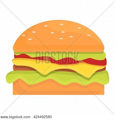 Takeaway Cheeseburger Icon. Cartoon Of Takeaway Cheeseburger Vector Icon For Web Design Isolated On