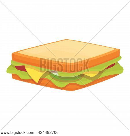 Takeaway Sandwich Icon. Cartoon Of Takeaway Sandwich Vector Icon For Web Design Isolated On White Ba