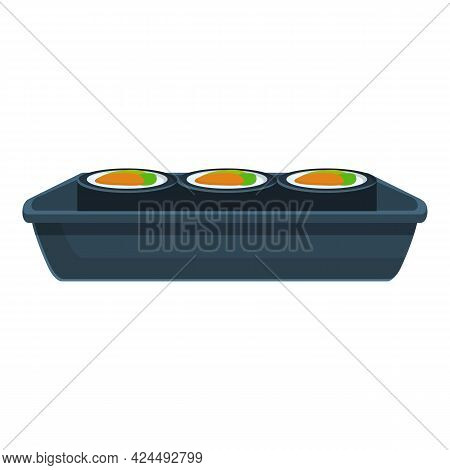 Box Of Korean Rolls Icon. Cartoon Of Box Of Korean Rolls Vector Icon For Web Design Isolated On Whit