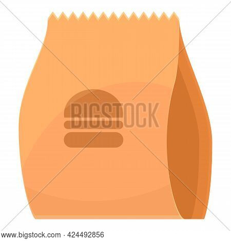Takeaway Burger Bag Icon. Cartoon Of Takeaway Burger Bag Vector Icon For Web Design Isolated On Whit
