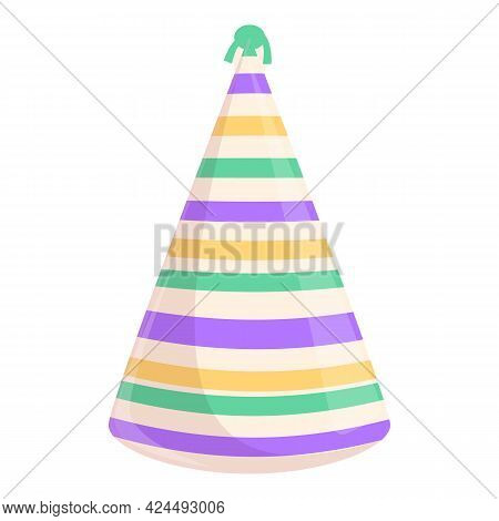 Party Hat Striped Icon. Cartoon Of Party Hat Striped Vector Icon For Web Design Isolated On White Ba