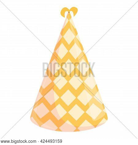 Party Hat With Pattern Icon. Cartoon Of Party Hat With Pattern Vector Icon For Web Design Isolated O