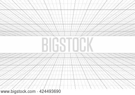 Room Perspective Grid Background 3d Vector Illustration. Architecture Model Projection Background Te