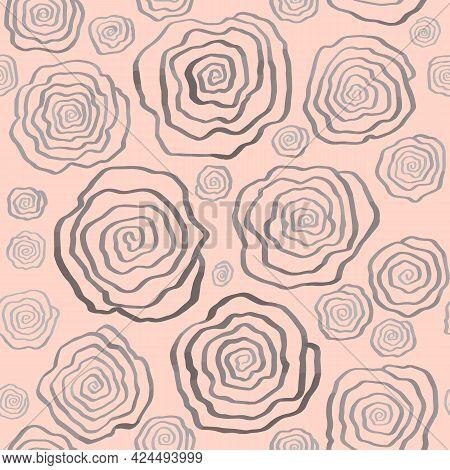 Seamless Floral Pattern With Drawn Stylized Spirals Roses. Monochrome Light Background. Print For Te