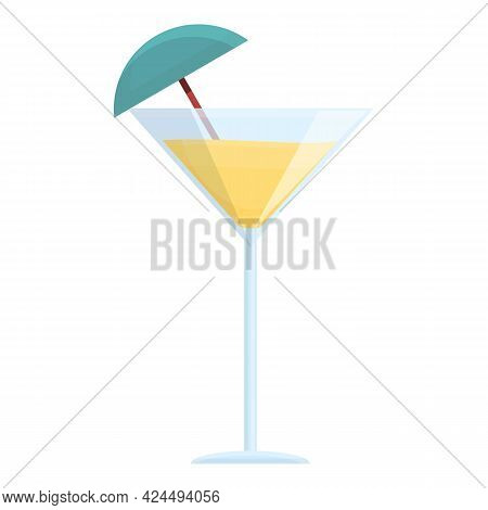 Tropical Fruit Cocktail Icon. Cartoon Of Tropical Fruit Cocktail Vector Icon For Web Design Isolated