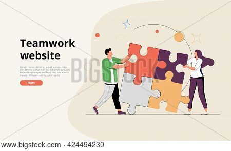 Coworking And Business Partnership Concept. Business Metaphor. People Connecting Puzzle Elements Or