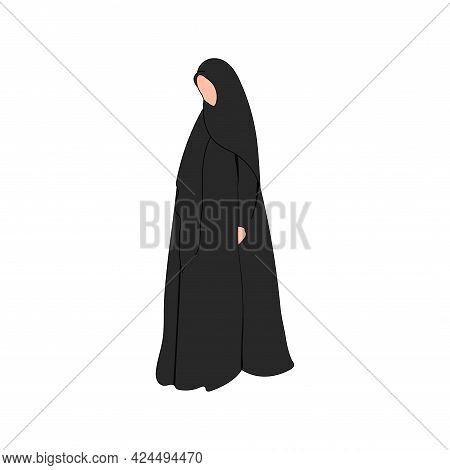Muslim Woman Vector Silhouette In Hijab And Abaya. Arab Saudi Girl. Black Female Islamic Hijab. Arab