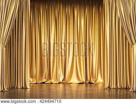 gold curtains and wooden floor. 3d render. concept of exclusivity