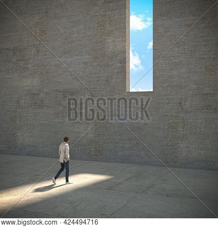 man walking towards a window in a concrete wall from where you can see the sky. unattainable. 3d render image and models.