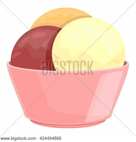 Craft Ice Cream Icon. Cartoon Of Craft Ice Cream Vector Icon For Web Design Isolated On White Backgr