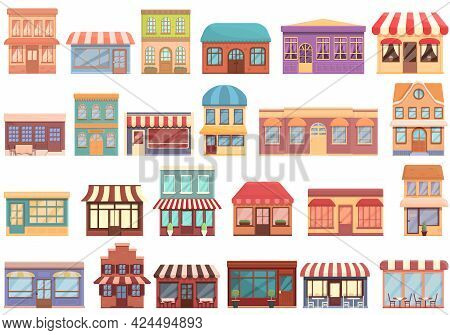 Street Cafe Icons Set. Cartoon Set Of Street Cafe Vector Icons For Web Design