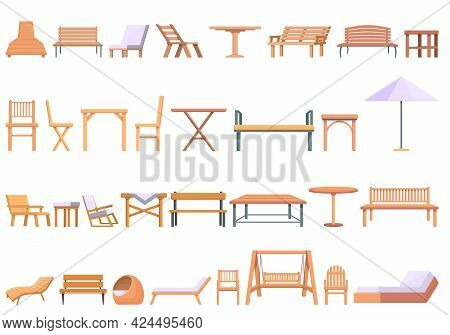Outdoor Furniture Icons Set. Cartoon Set Of Outdoor Furniture Vector Icons For Web Design