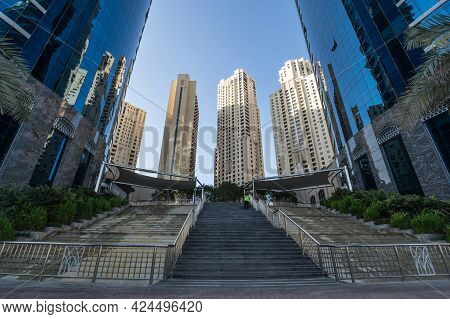 Dubai, United Arab Emirates - 08 December, 2018: View On Skyscrapers Of Dubai Marina, An Artificial