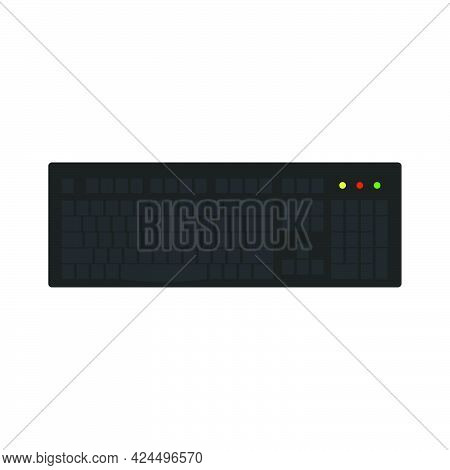 Computer Keyboard Technology Vector Illustration Equipment With Key And Button. Office Computer Keyb