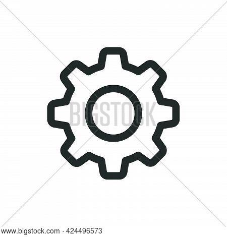 Gear Icon Wheel Technology Symbol Cog Design Illustration. Engineering Gear Sign Machine Equipment M