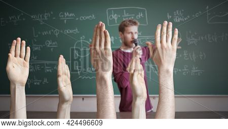 The Many Puppil Or Students Hands Raised With A Solution On A Lesson Or Lecture With A Teacher Speak