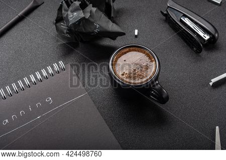 Coffee Mug With Strong Coffee. Strong Espresso With Froth. Coffee In A Black Mug On A Black Table. V