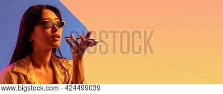 Young Girl Using Phone. Contemporary Art Collage, Modern Design. Retro Style. Woman On Colored Studi