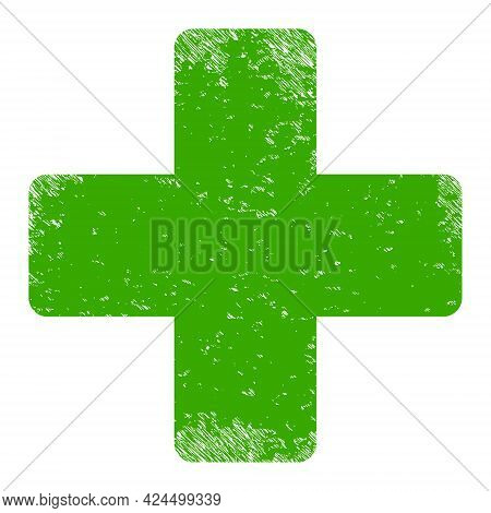 Veterinary Cross Icon With Scratched Effect. Isolated Raster Veterinary Cross Icon Image With Unclea
