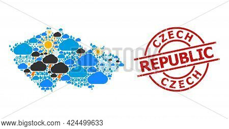 Weather Collage Map Of Czech Republic, And Scratched Red Round Badge. Geographic Vector Collage Map