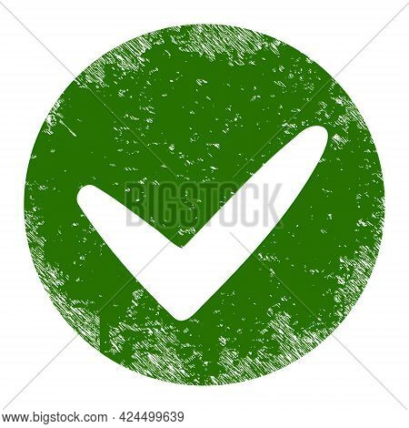 Approve Icon With Grunge Style. Isolated Raster Approve Icon Image With Grunge Rubber Texture On A W