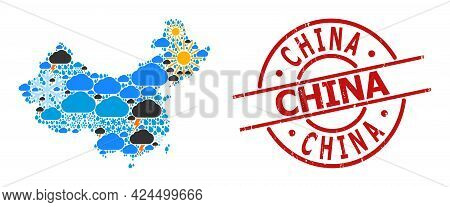 Climate Mosaic Map Of China, And Grunge Red Round Stamp. Geographic Vector Mosaic Map Of China Is Co