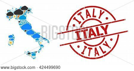 Weather Mosaic Map Of Italy, And Grunge Red Round Stamp Seal. Geographic Vector Mosaic Map Of Italy