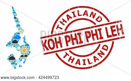 Weather Pattern Map Of Koh Phi Leh, And Grunge Red Round Stamp Seal. Geographic Vector Mosaic Map Of