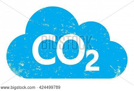 Carbon Dioxide Cloud Icon With Scratched Style. Isolated Raster Carbon Dioxide Cloud Icon Image With