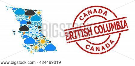 Weather Collage Map Of British Columbia Province, And Rubber Red Round Badge. Geographic Vector Coll