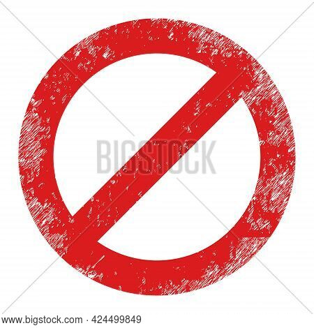 Forbidden Icon With Grunge Style. Isolated Raster Forbidden Icon Image With Grunge Rubber Texture On