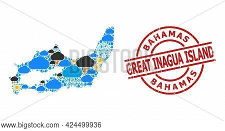 Climate Collage Map Of Great Inagua Island, And Textured Red Round Badge. Geographic Vector Concept