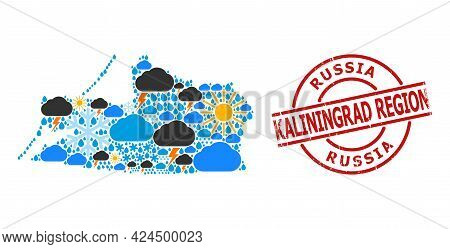 Climate Collage Map Of Kaliningrad Region, And Rubber Red Round Stamp. Geographic Vector Collage Map