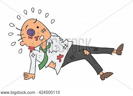Cartoon Boss Man Beaten, Vector Illustration. Colored And Black Outlines.