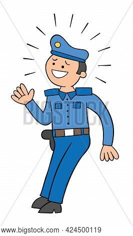 Cartoon Police Scared, Vector Illustration. Colored And Black Outlines.