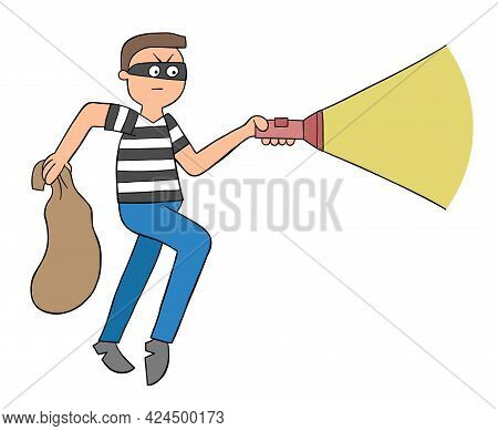 Cartoon Thief Walks With Sack And Flashlight, Vector Illustration. Colored And Black Outlines.