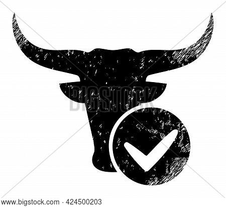 Approved Beef Icon With Scratched Style. Isolated Raster Approved Beef Icon Image With Scratched Rub
