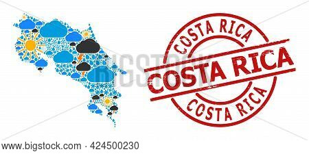 Weather Collage Map Of Costa Rica, And Distress Red Round Badge. Geographic Vector Collage Map Of Co