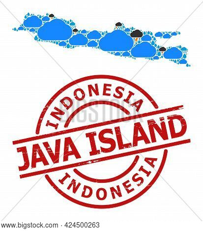 Weather Collage Map Of Java Island, And Distress Red Round Badge. Geographic Vector Concept Map Of J