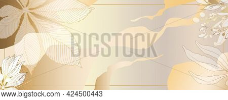 Luxurious Golden Wallpaper. White Background And Spots. Gold Leaves Mural With Shiny Light Art Textu