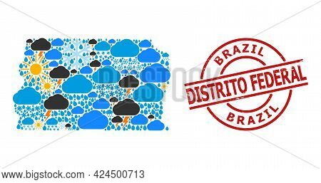 Climate Pattern Map Of Brazil - Distrito Federal, And Textured Red Round Badge. Geographic Vector Mo