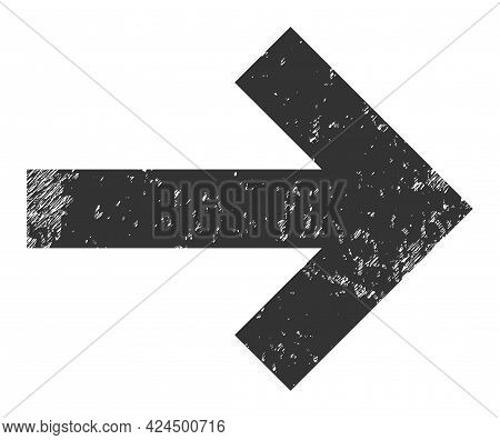 Right Direction Arrow Icon With Grunge Effect. Isolated Raster Right Direction Arrow Icon Image With