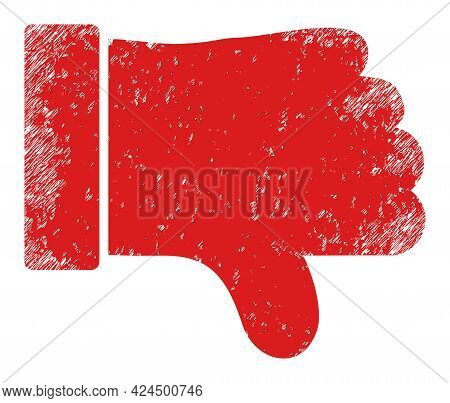 Thumb Down Icon With Scratched Effect. Isolated Raster Thumb Down Icon Image With Unclean Rubber Tex