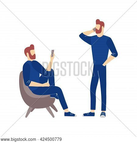 Men Make Conversation Or Videocall By Mobile Telephone. Communication And Conversation With Smartpho
